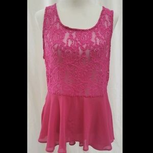 """Zenobia Pink Lacy Sheer High-Low Top - 40"""" Chest"""